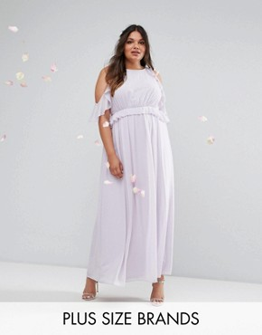 photo Frill Detail Maxi Dress by TFNC Plus WEDDING, color Lilac - Image 1