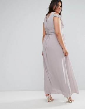photo Maxi Dress with Embellished Cold Shoulder by TFNC Plus WEDDING, color Grey - Image 2