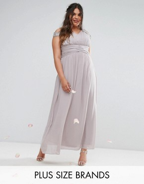 photo Maxi Dress with Embellished Cold Shoulder by TFNC Plus WEDDING, color Grey - Image 1