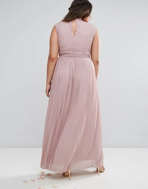 photo High Neck Lace Detail Maxi Dress by TFNC Plus WEDDING, color Pale Mauve - Image 2