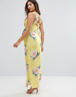 photo Floral Cross Back Cami Tea Dress by & You Nursing, color Yellow - Image 2