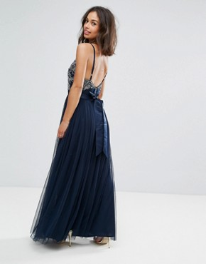 photo Cami Strap Bow Back Embellished Maxi Dress by Maya Petite, color Navy - Image 2