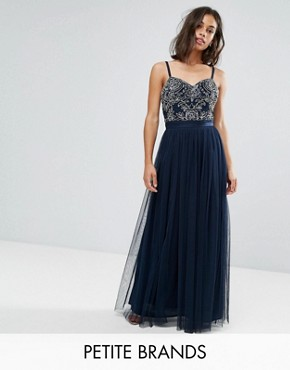 photo Cami Strap Bow Back Embellished Maxi Dress by Maya Petite, color Navy - Image 1