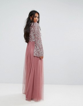 photo Sequin Top Tulle Maxi Dress with Fluted Sleeve Detail by Maya Petite, color Dark Mauve - Image 2
