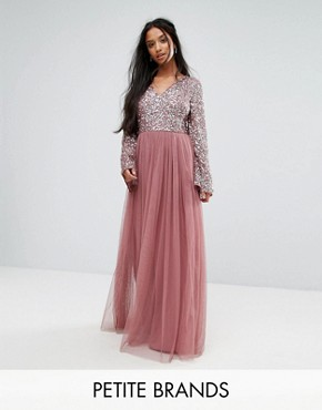 photo Sequin Top Tulle Maxi Dress with Fluted Sleeve Detail by Maya Petite, color Dark Mauve - Image 1