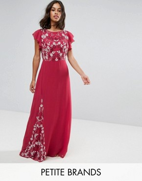 photo Embellished Maxi Dress with Fluted Sleeve by Maya Petite, color Raspberry - Image 1