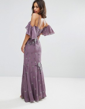 photo All Over Embellished Corset Top Maxi Dress with Cold Shoulder by Maya Petite, color Purple - Image 2