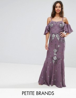 photo All Over Embellished Corset Top Maxi Dress with Cold Shoulder by Maya Petite, color Purple - Image 1