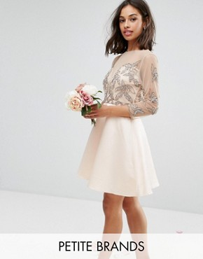 photo Allover Embellished Mini Prom Skater Dress by Maya Petite, color Pink - Image 1
