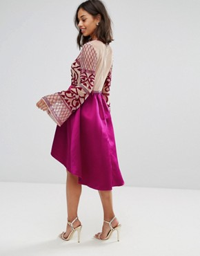 photo Allover Embellished Top Midi Dress with Asymmetric Skirt by Maya Petite, color Fuchsia - Image 2
