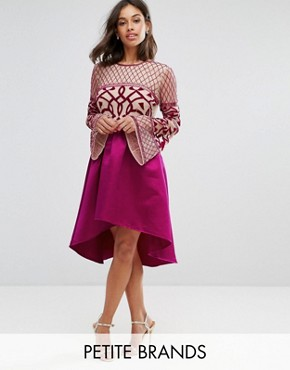 photo Allover Embellished Top Midi Dress with Asymmetric Skirt by Maya Petite, color Fuchsia - Image 1