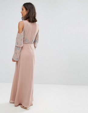 photo All Over Embellished Top Maxi Dress by Maya Petite, color Nude - Image 2