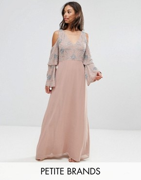 photo All Over Embellished Top Maxi Dress by Maya Petite, color Nude - Image 1