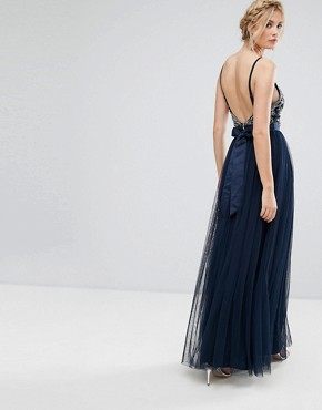 photo Cami Strap Bow Back Embellished Maxi Dress by Maya Tall, color Navy - Image 2