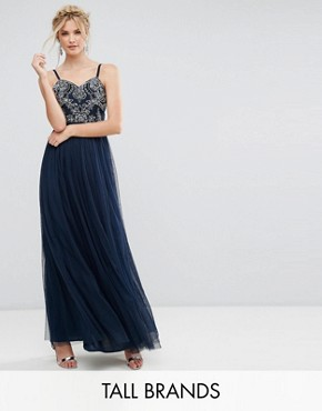 photo Cami Strap Bow Back Embellished Maxi Dress by Maya Tall, color Navy - Image 1