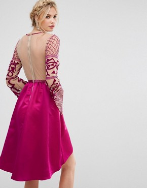photo Allover Embellished Top Midi Dress with Asymmetric Skirt by Maya Tall, color Fuchsia - Image 2