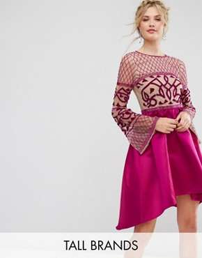 photo Allover Embellished Top Midi Dress with Asymmetric Skirt by Maya Tall, color Fuchsia - Image 1