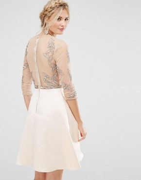 photo Allover Embellished Mini Prom Skater Dress by Maya Tall, color Pink - Image 2
