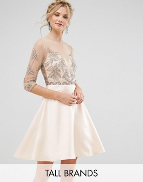 photo Allover Embellished Mini Prom Skater Dress by Maya Tall, color Pink - Image 1