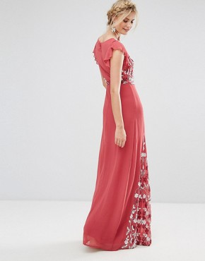 photo Embellished Maxi Dress with Fluted Sleeve by Maya Tall, color Raspberry - Image 2
