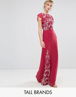 photo Embellished Maxi Dress with Fluted Sleeve by Maya Tall, color Raspberry - Image 1