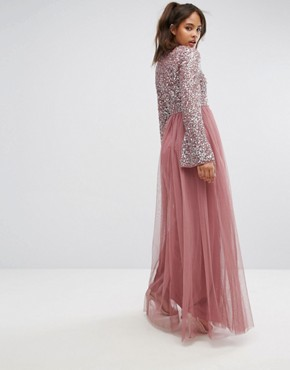 photo Sequin Top Tulle Maxi Dress with Fluted Sleeve Detail by Maya Tall, color Dark Mauve - Image 2
