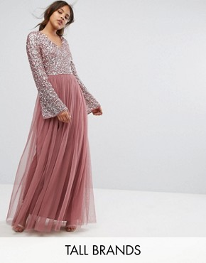 photo Sequin Top Tulle Maxi Dress with Fluted Sleeve Detail by Maya Tall, color Dark Mauve - Image 1