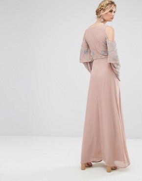 photo All Over Embellished Top Maxi Dress by Maya Tall, color Nude - Image 2