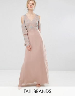 photo All Over Embellished Top Maxi Dress by Maya Tall, color Nude - Image 1