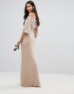 photo Allover Embellished Bandeau Maxi Dress with Balloon Sleeves by Maya Tall, color Nude - Image 2