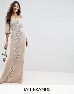 photo Allover Embellished Bandeau Maxi Dress with Balloon Sleeves by Maya Tall, color Nude - Image 1