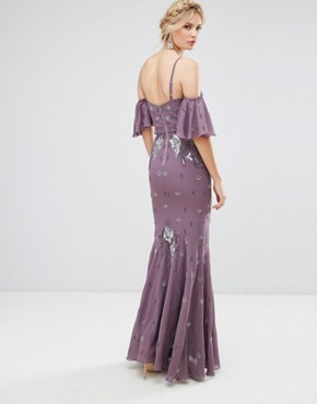 photo All Over Embellished Corset Top Maxi Dress with Cold Shoulder by Maya Tall, color Purple - Image 2