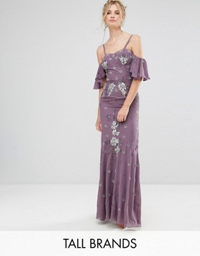 photo All Over Embellished Corset Top Maxi Dress with Cold Shoulder by Maya Tall, color Purple - Image 1
