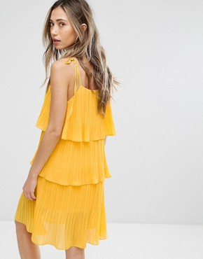 photo Pleated Tiered Dress by Pearl, color Yellow - Image 2