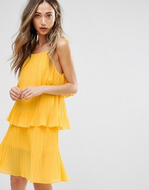 photo Pleated Tiered Dress by Pearl, color Yellow - Image 1