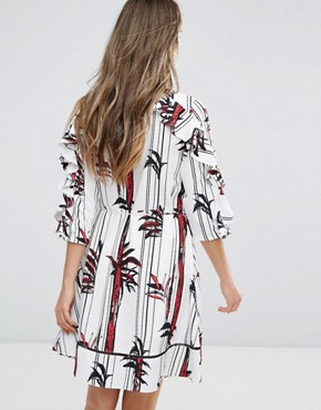 photo Printed Ruffle Sleeve Dress by Pearl, color Print - Image 2