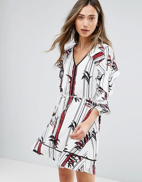 photo Printed Ruffle Sleeve Dress by Pearl, color Print - Image 1