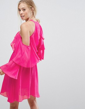 photo Ruffle Halter Dress by Pearl, color Pink - Image 2
