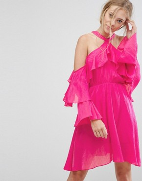photo Ruffle Halter Dress by Pearl, color Pink - Image 1