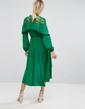 photo Lace Panel Ruffle Hi Low Midi Dress by Pearl, color Green - Image 2