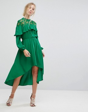 photo Lace Panel Ruffle Hi Low Midi Dress by Pearl, color Green - Image 1