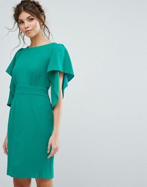 photo Cape Sleeve Midi Dress by Closet London, color Green - Image 1