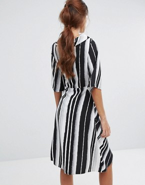 photo Wrap Front Striped Dress by Closet London, color Multi - Image 2