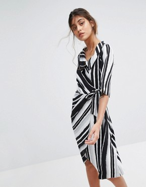 photo Wrap Front Striped Dress by Closet London, color Multi - Image 1