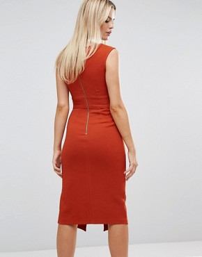 photo Midi Dress with Tie Front by Closet London, color Rust - Image 2