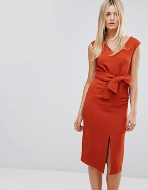 photo Midi Dress with Tie Front by Closet London, color Rust - Image 1