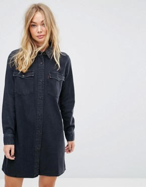 photo Tab Western Denim Shirt Dress by Levis Orange, color Danger Black - Image 1
