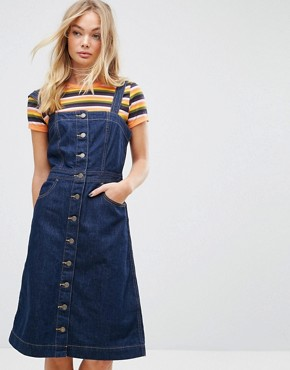 photo Tab Button Through Denim Dress by Levis Orange, color Super Dark Authentic - Image 1