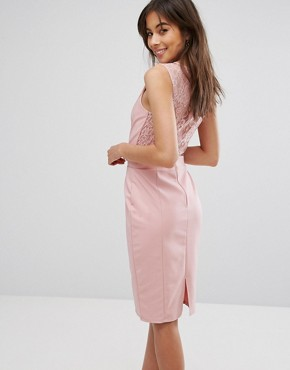 photo Lace Insert Dress by Paper Dolls, color Pink - Image 2