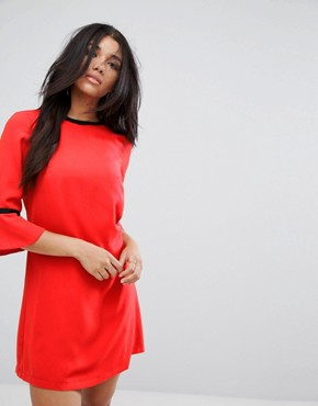 photo Frill Sleeve Tunic Dress by Paper Dolls, color Red - Image 1